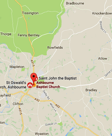 Map and route planning link for Ashbourne Baptist Church, Ashbourne, Derbyshire