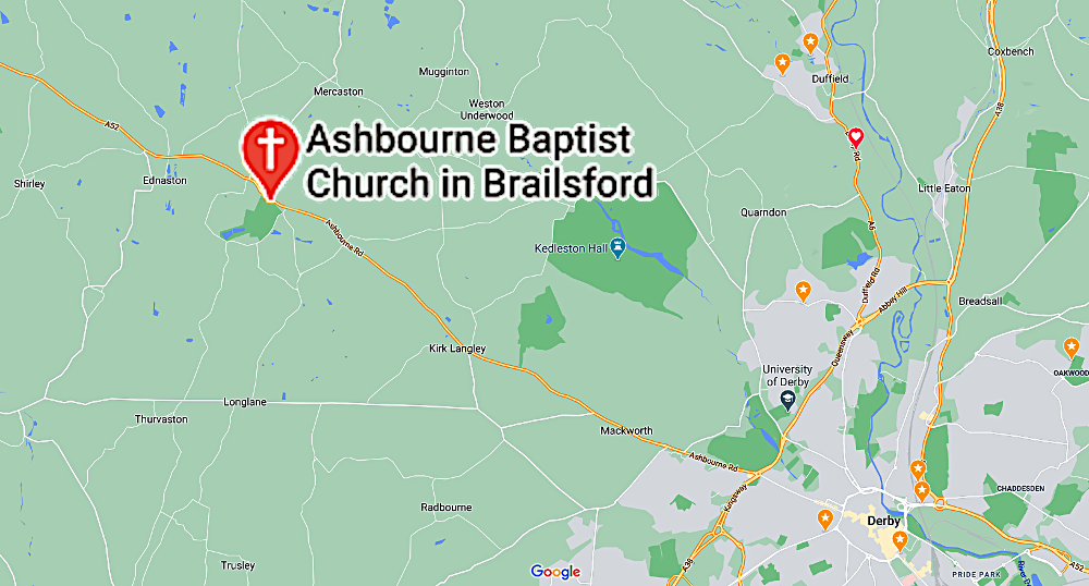 Map and route planning link for Ashbourne Baptist Church in Brailsford, Ashbourne, Derbyshire